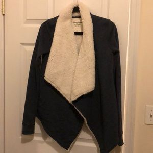 Navy shearling-lined sweater